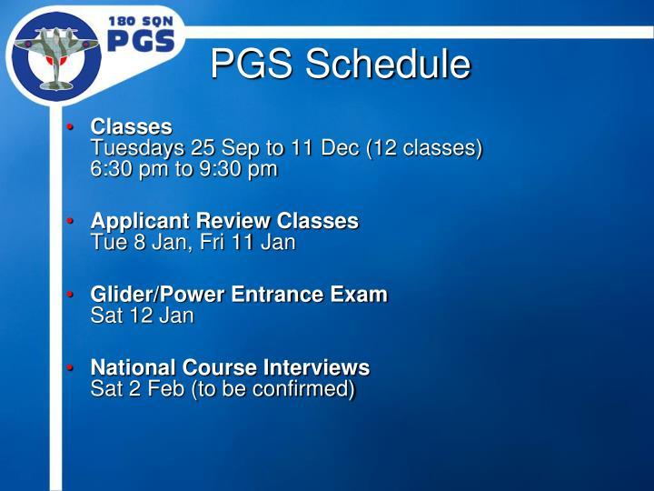 PGS Schedule