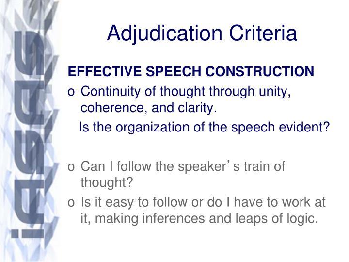 Adjudication criteria1