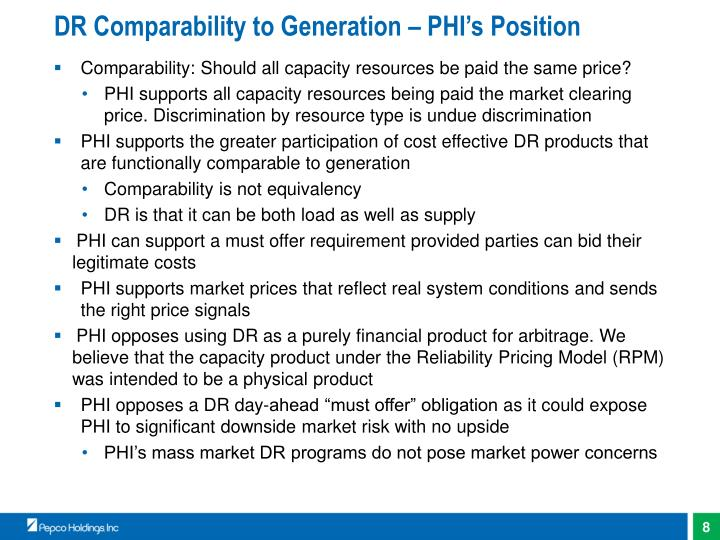 DR Comparability to Generation – PHI's Position