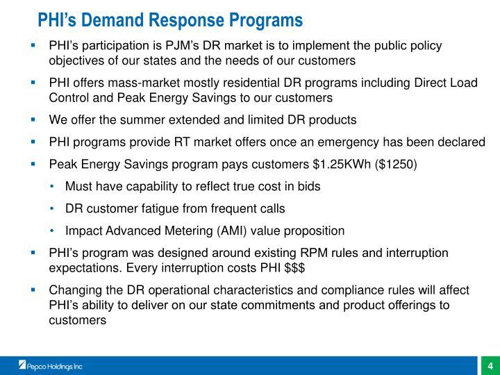 PHI's Demand Response Programs