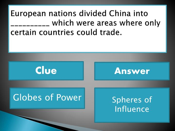 European nations divided China into __________ which were areas where only certain countries could trade.