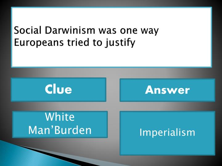 Social Darwinism was one way Europeans tried to justify