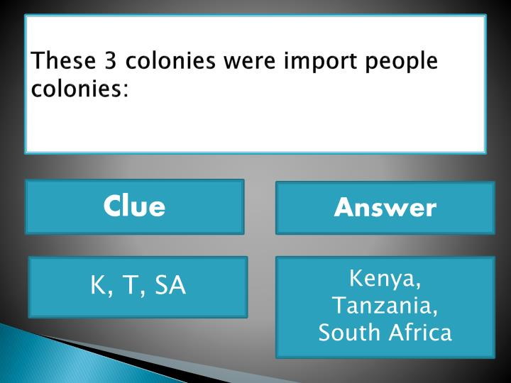 These 3 colonies were import people colonies: