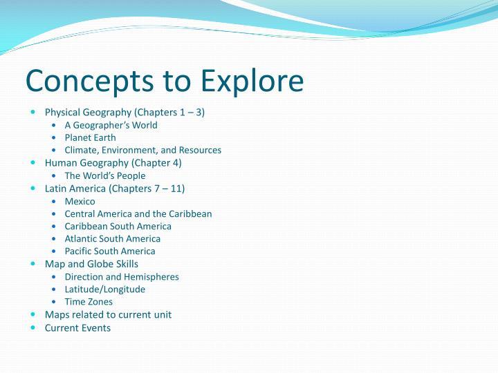 Concepts to explore