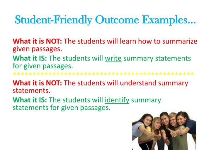 Student friendly outcome examples