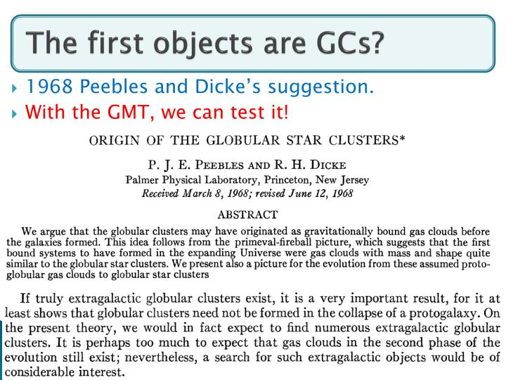 The first objects are GCs?