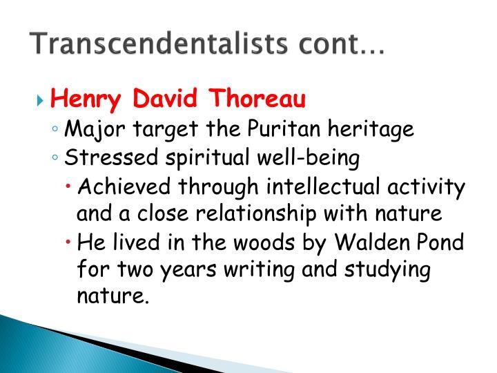 Transcendentalists cont…