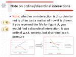 note on ordinal disordinal interactions