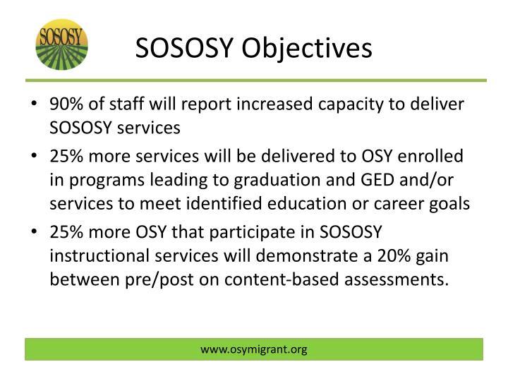 SOSOSY Objectives