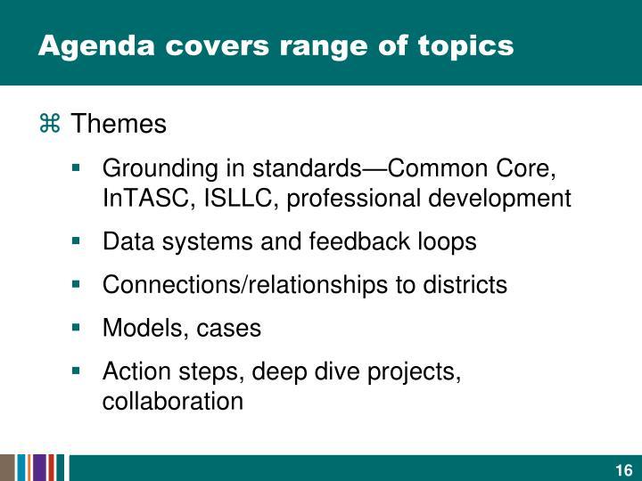 Agenda covers range of topics
