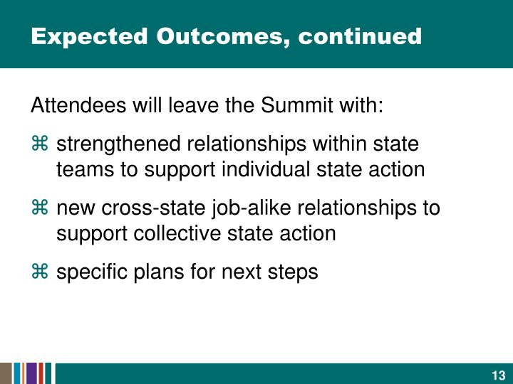 Expected Outcomes, continued