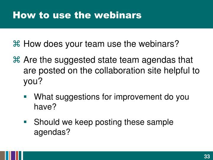 How to use the webinars