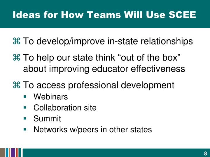 Ideas for How Teams Will Use SCEE