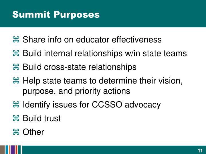 Summit Purposes