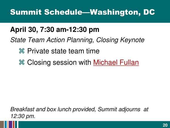 Summit Schedule—Washington, DC
