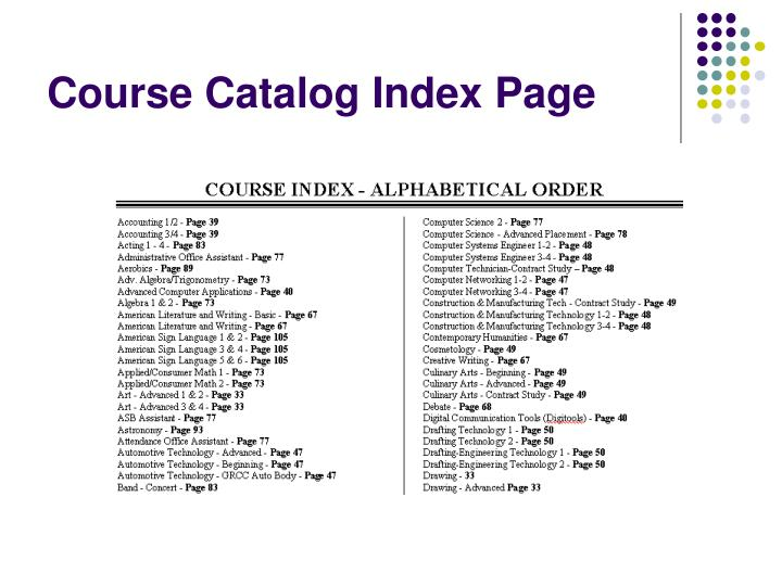 Course Catalog Index Page