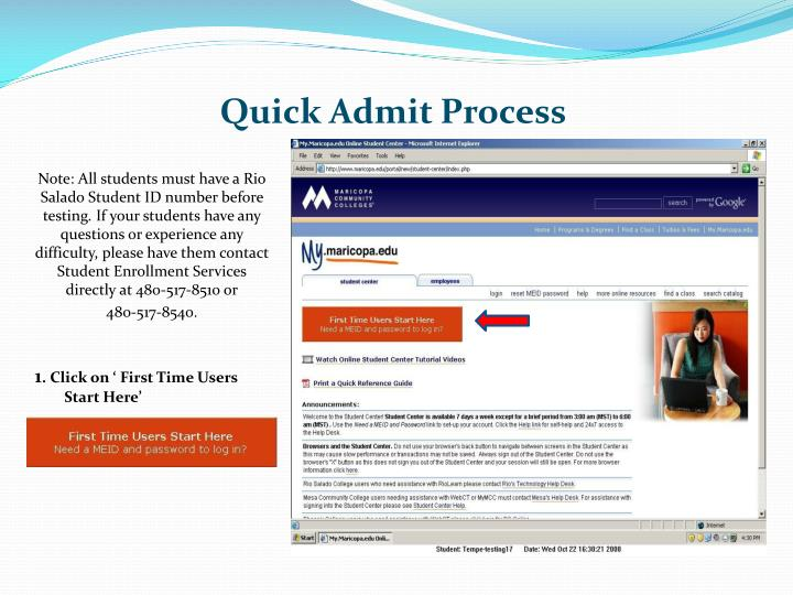 Quick admit process