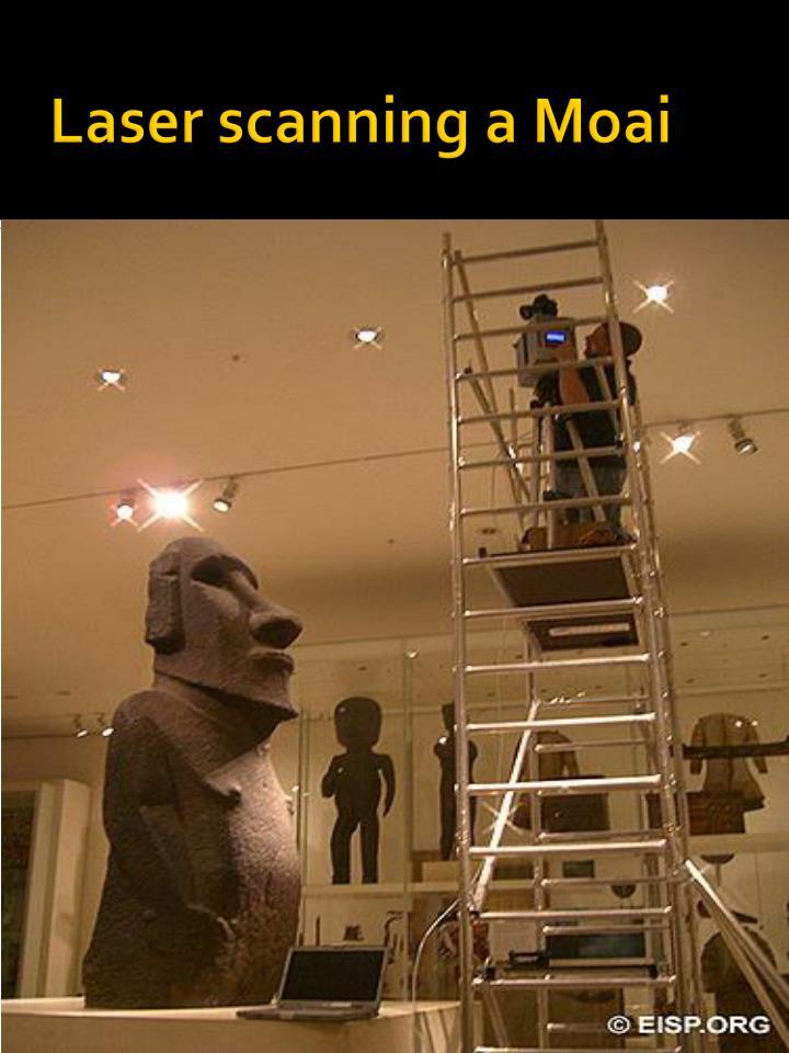 Laser scanning a Moai