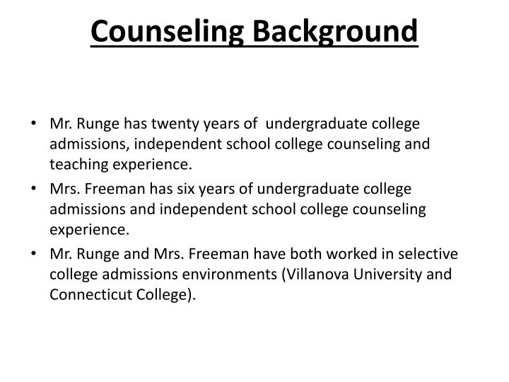 Counseling background