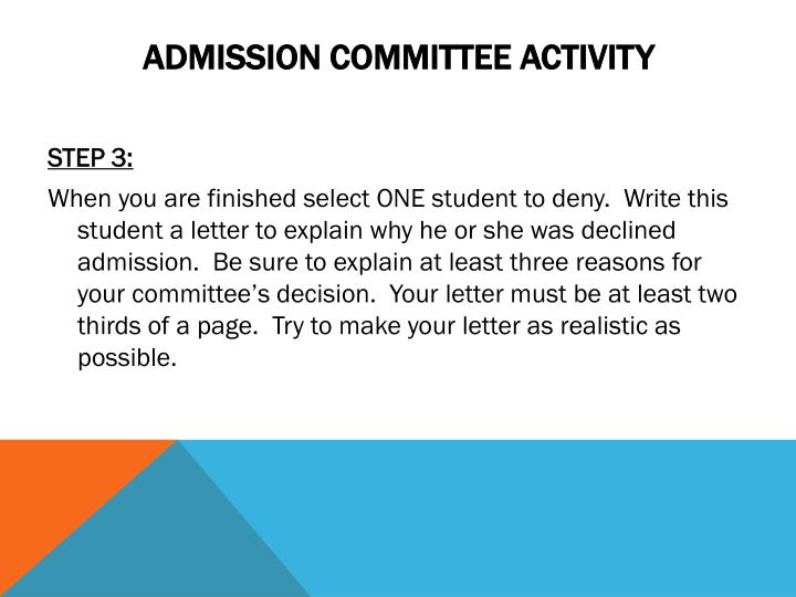Admission committee activity2