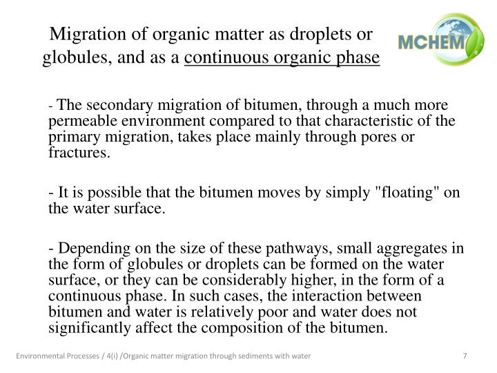 Migration of organic matter as droplets or