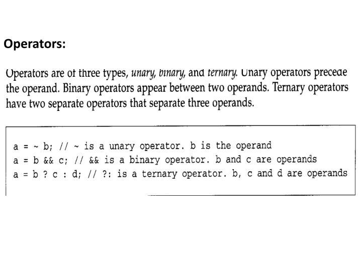 Operators: