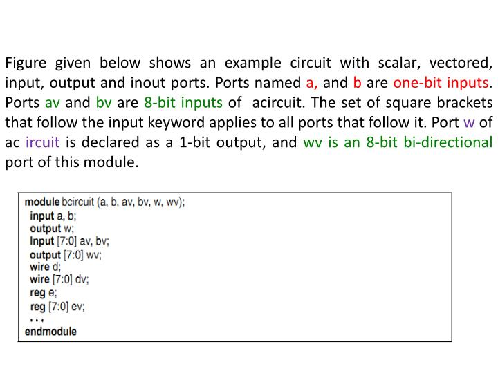 Figure given below shows an example circuit with scalar' vectored' input' output and
