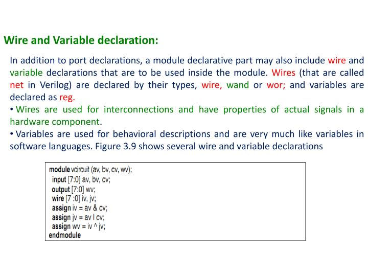 Wire and Variable declaration: