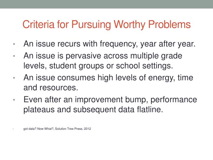Criteria for Pursuing Worthy Problems
