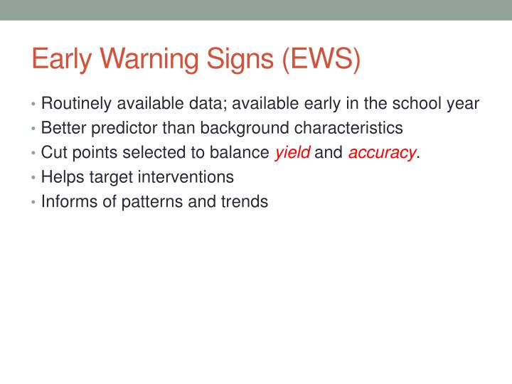 Early Warning Signs (EWS)