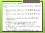 desired outcomes