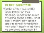 do now gallery walk