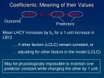 coefficients meaning of their values