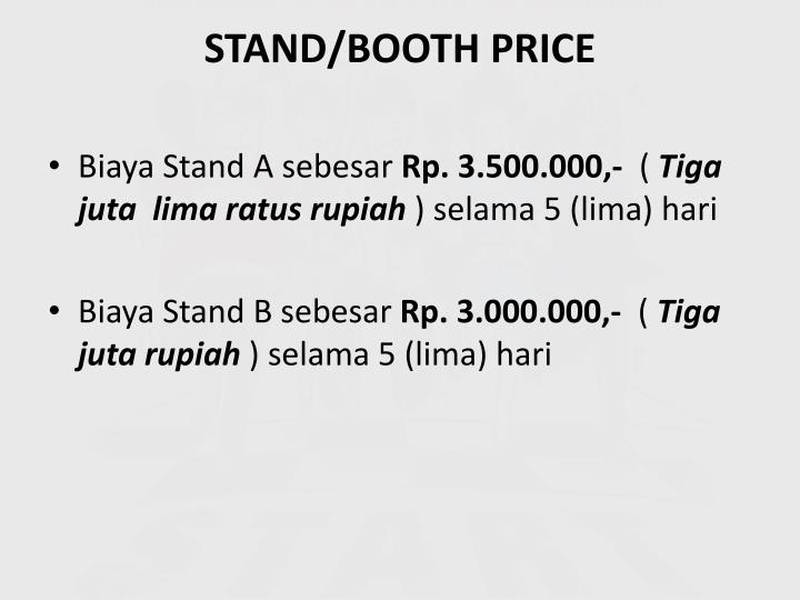 STAND/BOOTH PRICE