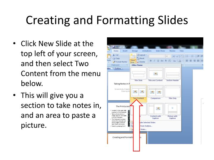 Creating and formatting slides