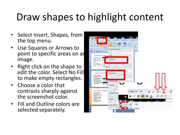 Draw shapes to highlight content