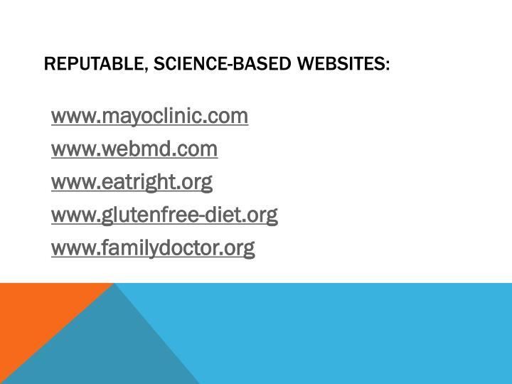 Reputable, Science-based websites: