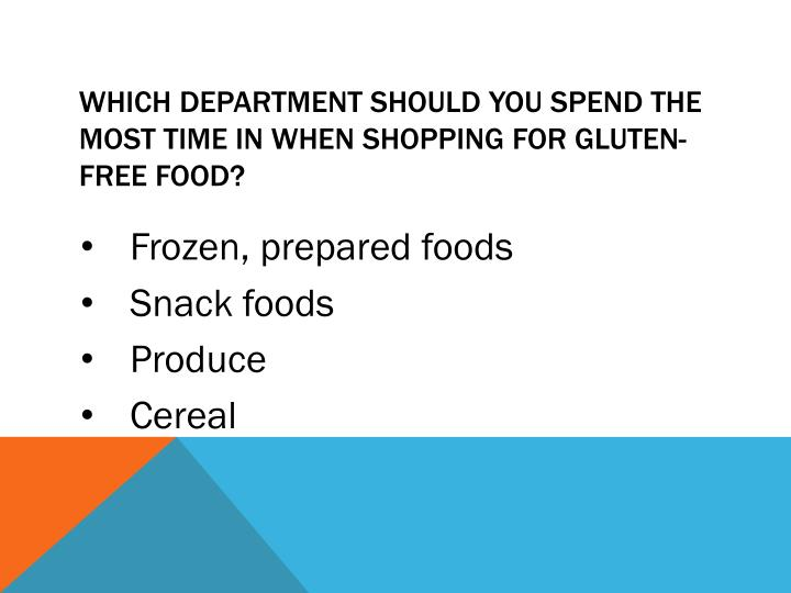 Which department should you spend the most time in when shopping for gluten-free food?