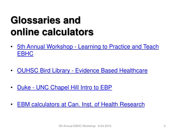 Glossaries and online calculators