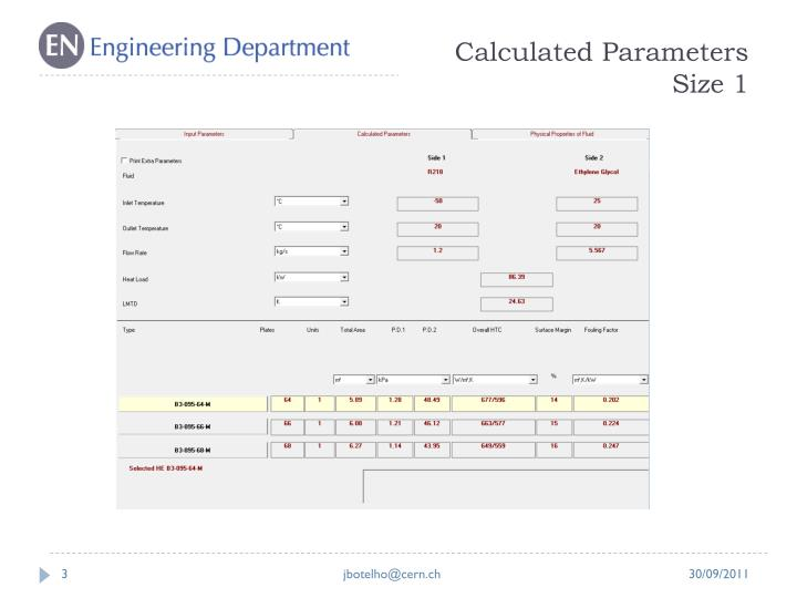 Calculated parameters size 1