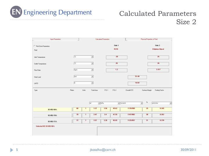 Calculated Parameters Size 2