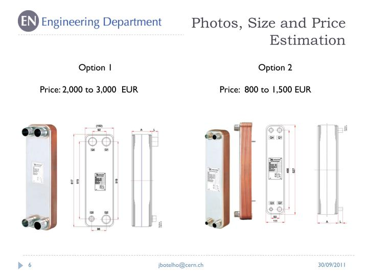 Photos, Size and Price Estimation
