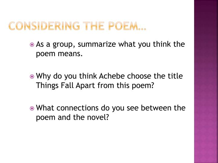 Considering the Poem…