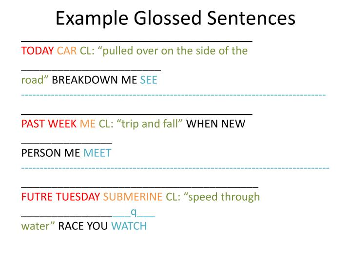 example glossed sentences n.