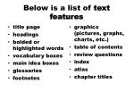 below is a list of text features