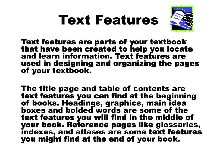 text features n.