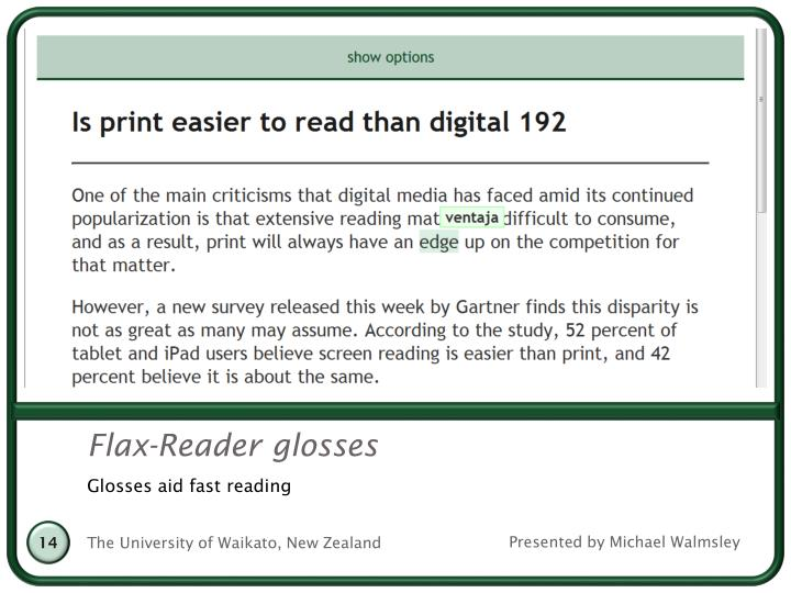 Flax-Reader glosses