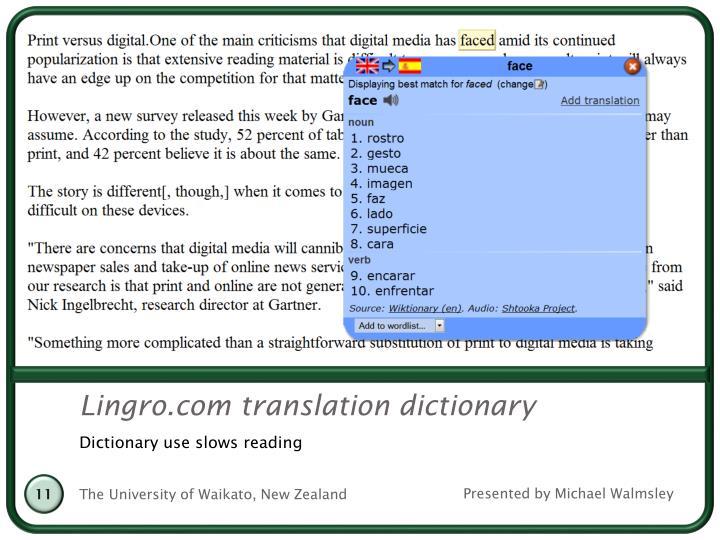 Lingro.com translation dictionary