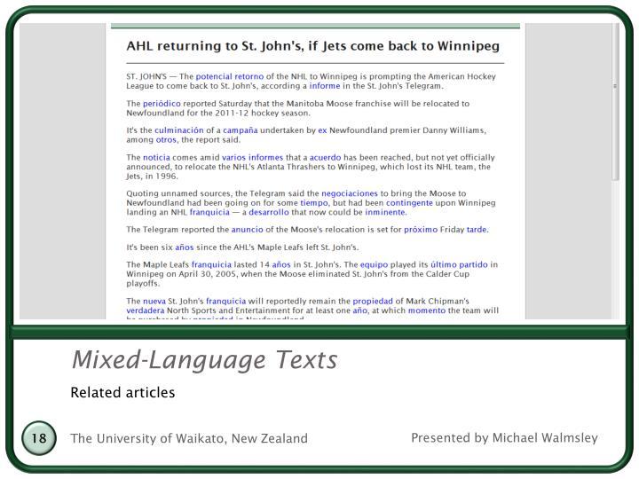 Mixed-Language Texts