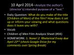 10 april 2014 analyze the author s director s intended purpose of a text